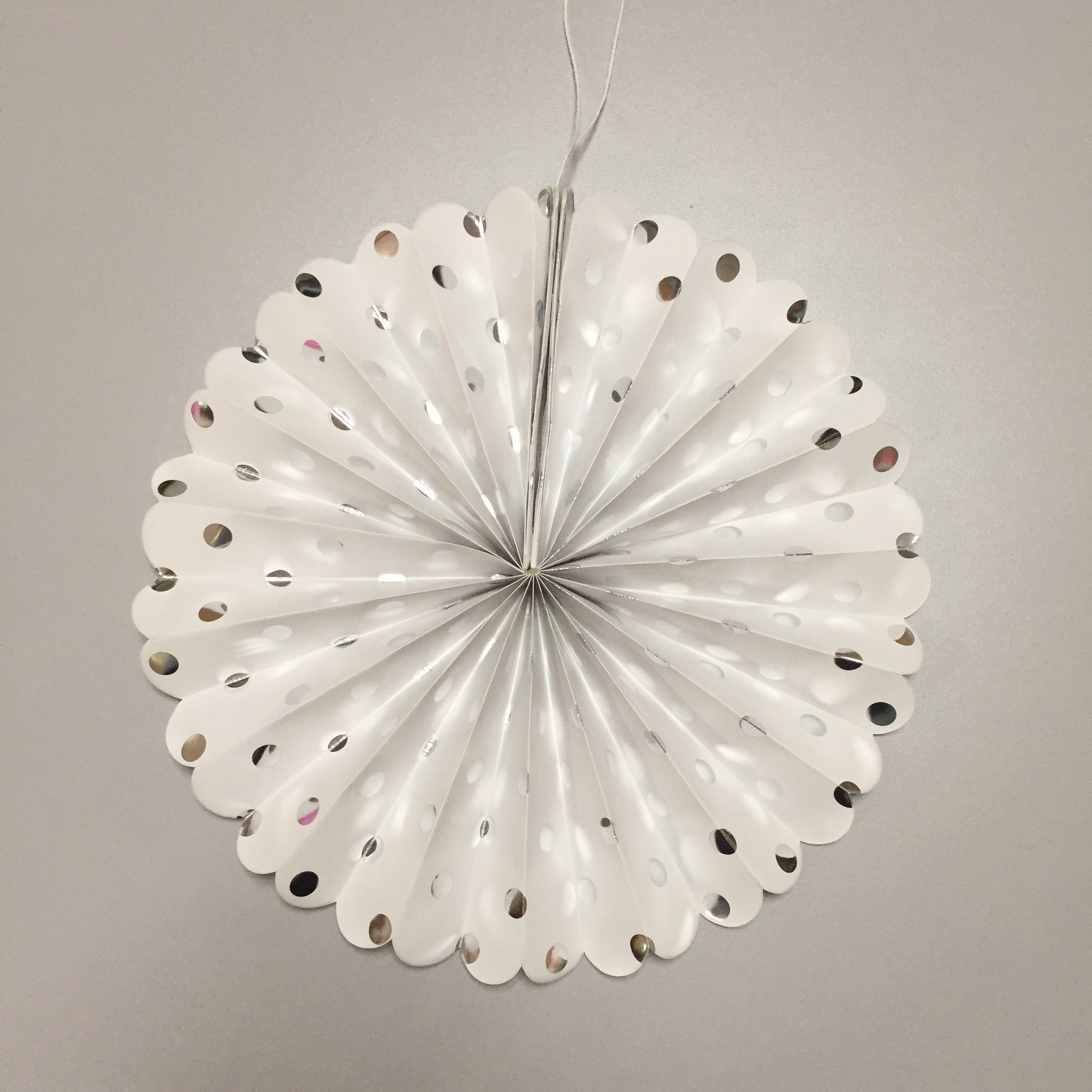 silver dotted fan for party decoration
