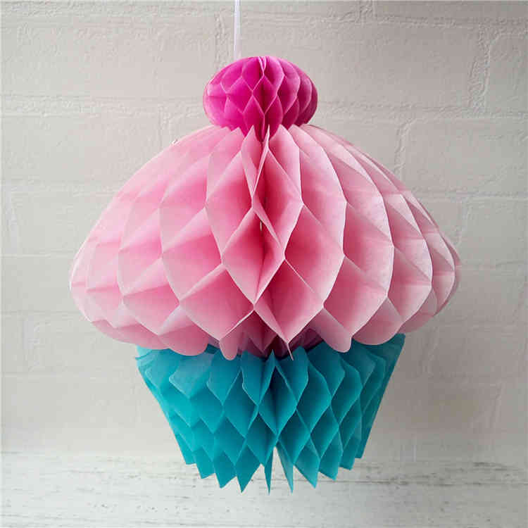 Tissue Paper Honeycomb Cupcakes Decoration For Birthday Party
