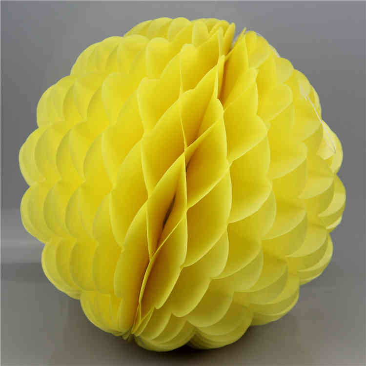 Yellow Special Shaped Tissue Paper Honeycomb Ball