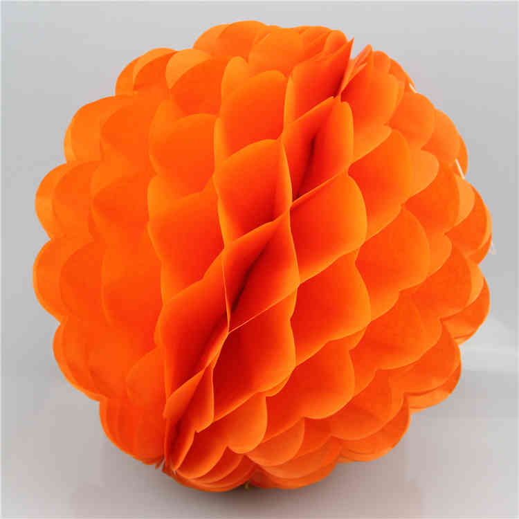 Orange Special Shaped Tissue Paper Honeycomb Ball