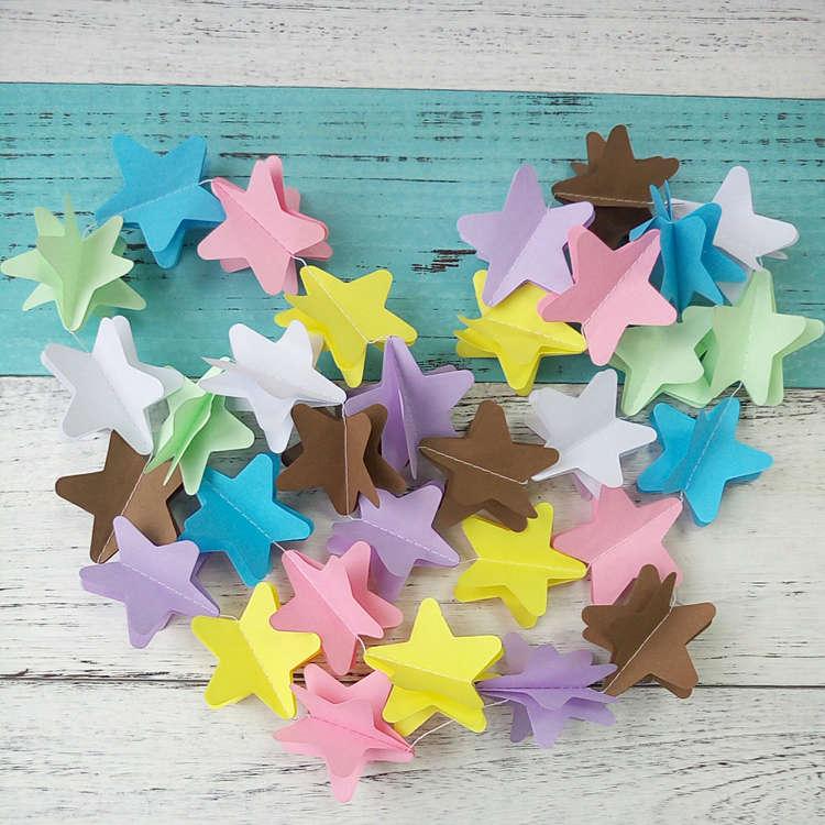 3d paper star garland
