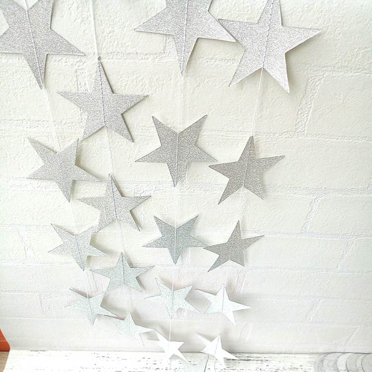 glitter paper star garland