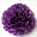 Umiss tissue paper flowers dark purple paper pom poms for birthday celebration events christmas day decorations