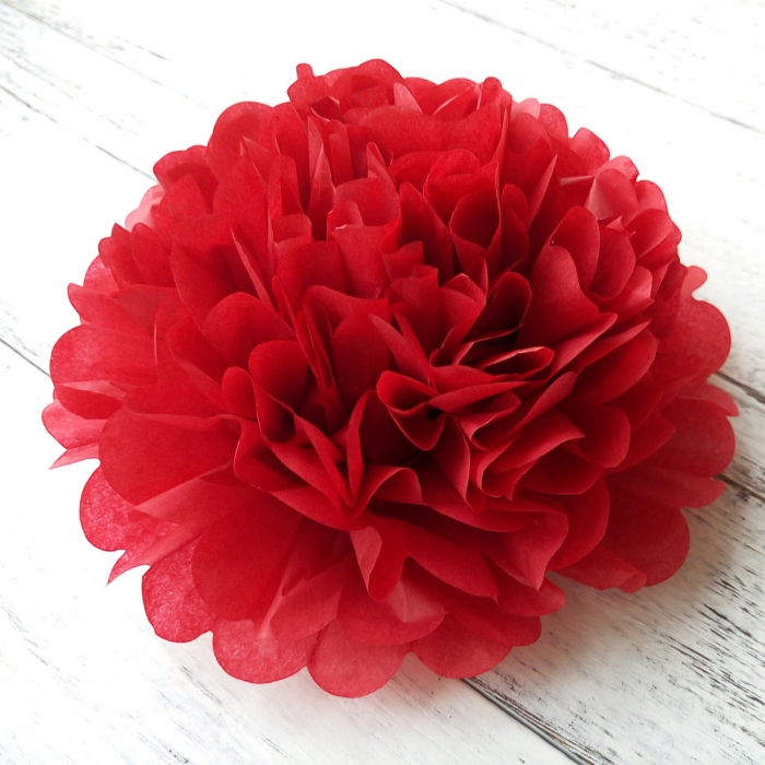 Buy Diy Cherry Red Tissue Paper Flowers Party Pom Wedding Decoration