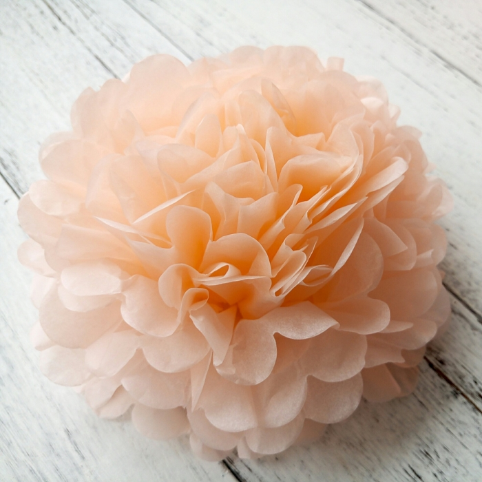 Buy diy peach tissue paper decor hanging pom poms from for Hanging pom poms from ceiling