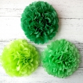 Umiss spring green set tissue paper pom poms home decor, nursery or children room, back to school, Christmas Mantle, Christmas tree