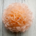 diy peach tissue paper decor, hanging pom poms from ceiling
