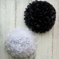 New products 2016 black and white tissue paper pom poms diy flower ball
