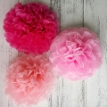 Mixed pink pom poms tissue paper decorations diy wedding party supplies