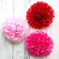 Mixed red cheap wedding tissue pom poms paper flowers