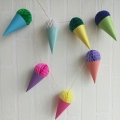 Umiss Colorful Paper Honeycomb Ice Cream Garland for Wedding and Birthday Party