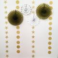 Pack of 8 Gold Decoration Tissue Paper Fans, Glitter Powder Banners