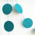 Umiss Blue Glitter Paper Circle Garland For New Year