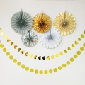 UMISS Pack Of 7 Wedding Birthday Party Decoration,Folding Paper Fans,Gold Heart Circle Garlands