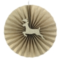4Pcs Set Yellow Golden Round Chinese Paper Folding Fans