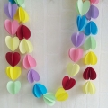 Umiss Colorful Wedding  tissue paper 3d heart shape wire garlands