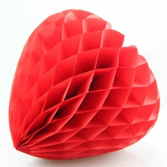 Love Shaped Tissue Paper Honeycomb Ball