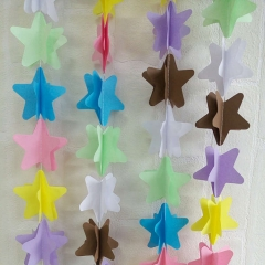 Elegant Wedding 3d Colorful Decorative Wire Star Paper Garlands