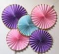 Umiss Fold Metalic Foil Gold Paper Fans Pinwheel Decorations for Wedding