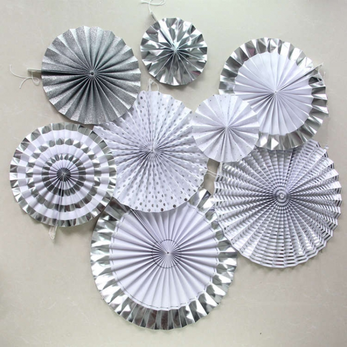 Silver Foil Craft Paper Fan