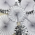 Set of 8 Prefolded Handmade Silver Foil Craft Paper Fan for Wedding Decorations