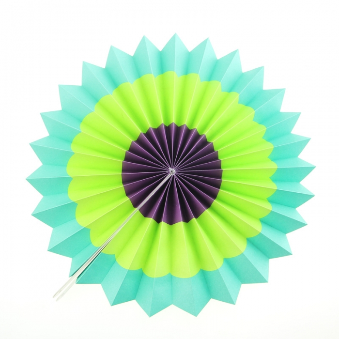 Set of 6 colorful pinwheel craft paper fans fiesta for Bright vibrant colors