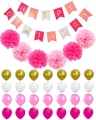Custom Pink  Gold Black Happy Birthday Banner with Balloons and Tissue Paper Pom Poms for Party Decorations