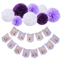 Stock Happy Birthday Banner Tissue Paper Pom Poms Flower for Birthday Party Decorations Pink White Purple Mix