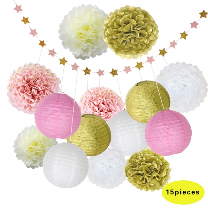Buy 15pcs/set #050515 Birthday Party Decorations PINK GOLD