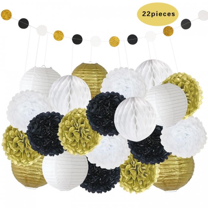Buy 22pcsset 051822 Birthday Party Decorations Gold Black White
