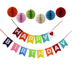 Happy Birthday Decoration Banner With Colorful Tissue Pom Pom Ball