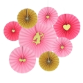 Valentines' Day Fold Paper Fans For Party Decorations set of 8