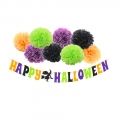Happy Halloween Banner Kit with Latex Balloons Green Orange Black Purple Pompom Flower Tissue Paper Decorations
