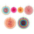 Fold Paper Fans For Party Decorations Set Of 6