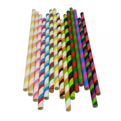 Multicolour Striped Paper Straws Wholesale