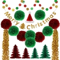 Merry Christmas Tree Decorations paper fans paper banner paper  tissue tassel