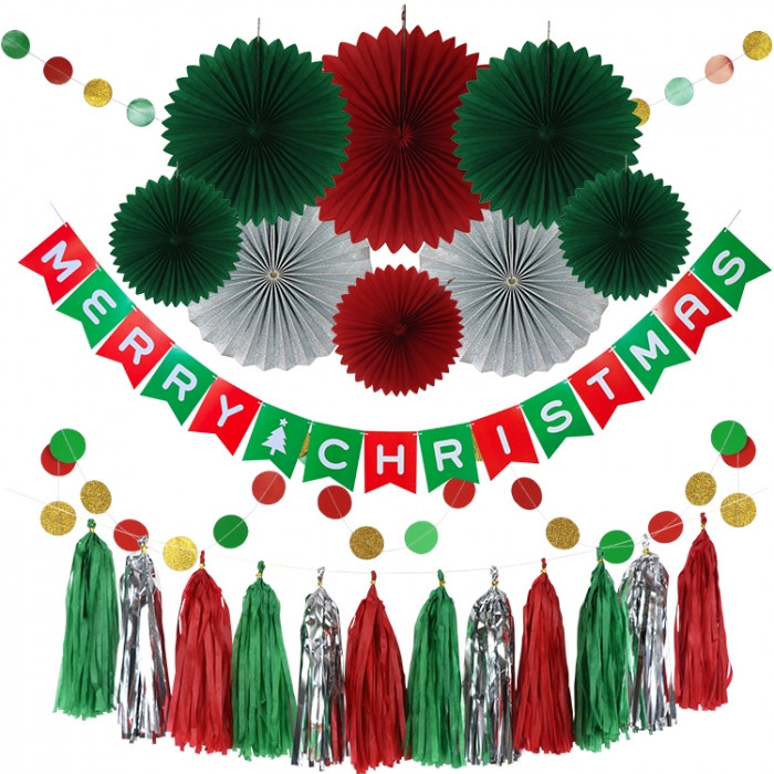 Merry Christmas Decorations paper fans set