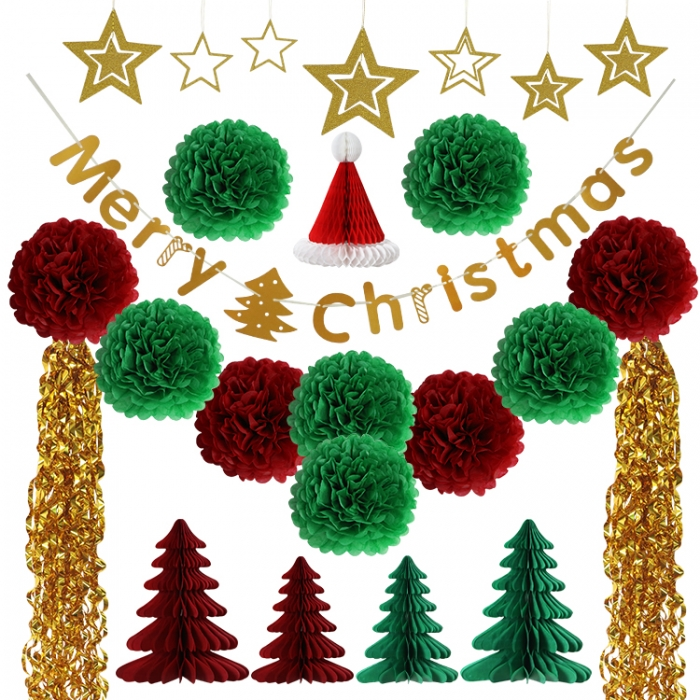 Merry Christmas Tree Decorations paper fans