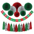 Merry Christmas Decorations paper fans paper banner paper honeycomb tissue tassel