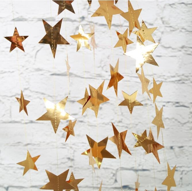 Paper Party Garland Backdrop Star Gold Silver
