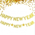 Paper Decorations Happy New Year Banner Gold