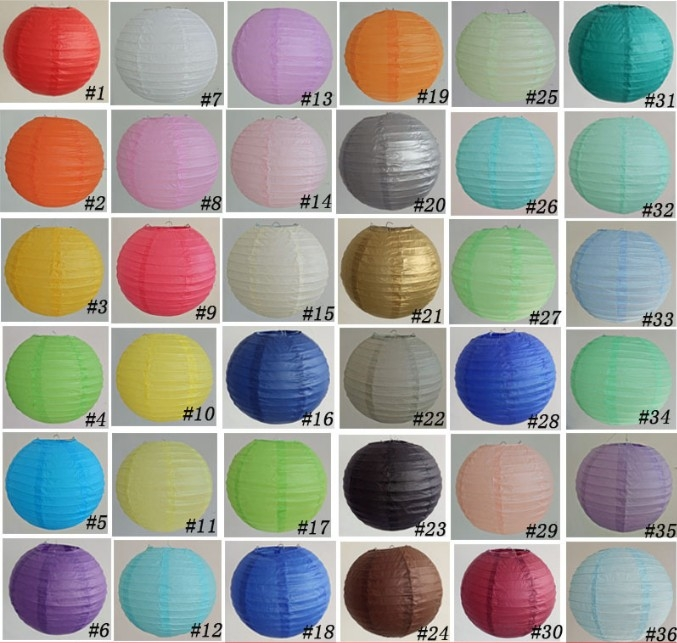 Buy Stock Round Chinese Paper Lantern Wholesale 36colours