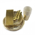 Gold Party Tableware Kit Party Supplies Wholesale Rose Gold Paper Straws Paper Plates Cups Paper Spoons Set
