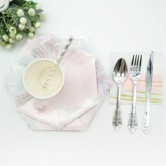 Pink Marble Disposable Tableware